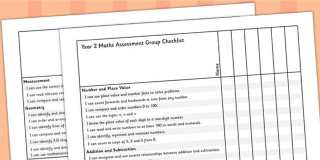 Year 2 Maths Assessment Group Checklist - maths, assessment