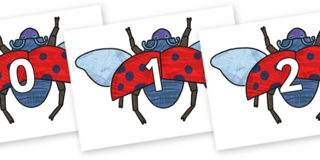 Numbers 0-100 on Bad Tempered Ladybird to Support Teaching on The Bad Tempered Ladybird - 0-100, foundation stage numeracy, Number recognition, Number flashcards, counting, number frieze, Display numbers, number posters