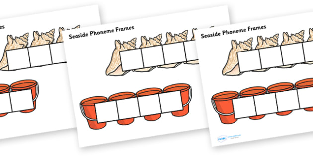 Seaside Phoneme Frames - Phoneme Frames printable, seaside, sea, beach, phoneme frame, phoneme, phonemes, Segmenting, DfES Letters and Sounds, Letters and sounds, KS1 Literacy, Phase one, Phase 1, Phase two, Phase 2, Phase three, Phase 3