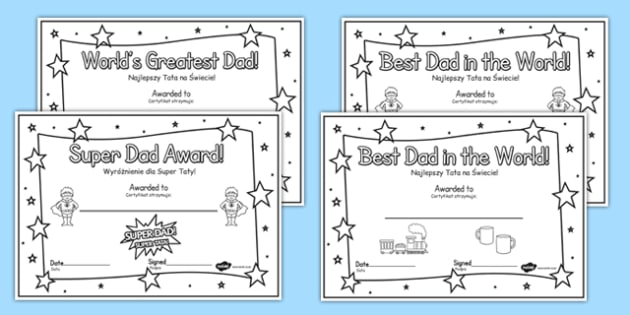 Colouring Father's Day Certificates Polish Translation - polish, Father's day card, father's day cards, father's day activity, father's day resource, card, card template, colouring, fine motor skills