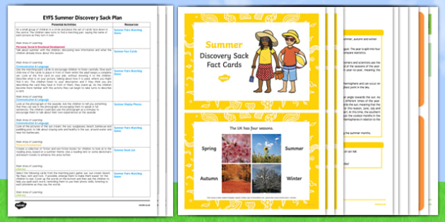 EYFS Summer Discovery Sack Plan and Resource Pack - summer, discovery sack, discovery, sack