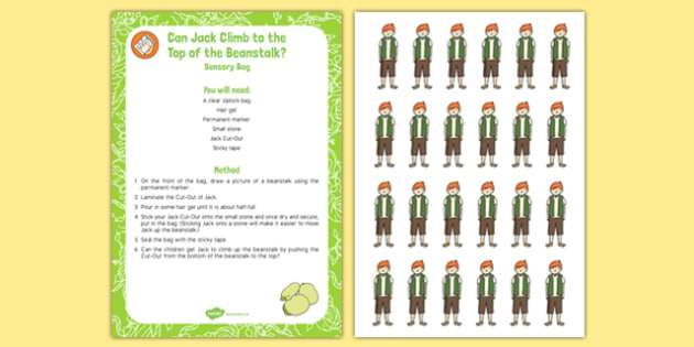 Can Jack climb to the top of the Beanstalk? Sensory Bag - story, EYFS, Literacy, Finger Gym