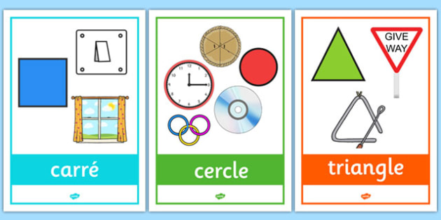 2D Shape Posters with Everyday Examples French - french, 2d shape, posters, display, everyday,2Dshape