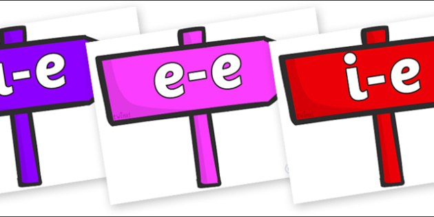 Modifying E Letters on Signposts - Modifying E, letters, modify, Phase 5, Phase five, alternative spellings for phonemes, DfES letters and Sounds