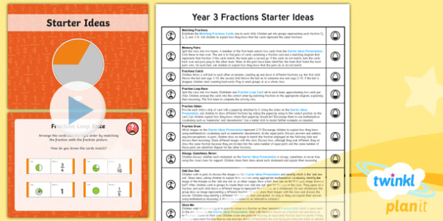 PlanIt Y3 Fractions Starter Ideas Pack - Fractions, Starter Ideas, Starters, Fractions Starters