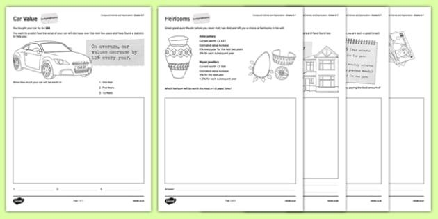 Budget at Home Compound Interest and Depreciation Activity Sheet Pack GCSE Grades 5-7 - KS3, KS4, GCSE, Maths, Finance, Budget, Home, worksheet