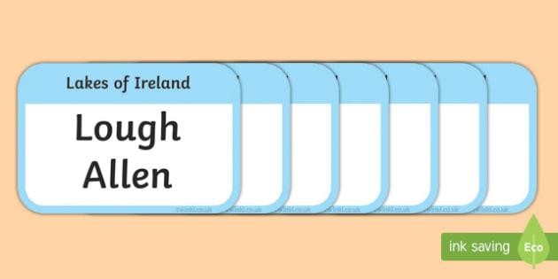 Lakes of Ireland Flashcards-Irish