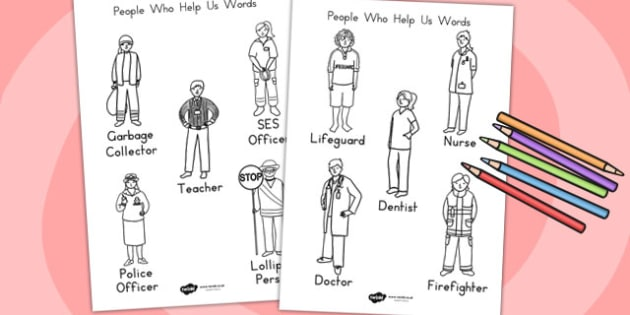 People Who Help Us Words Colouring Sheet - colour, colouring game