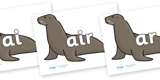 Phase 3 Phonemes on Sealions - Phonemes, phoneme, Phase 3, Phase three, Foundation, Literacy, Letters and Sounds, DfES, display