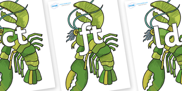 Final Letter Blends on Lobster - Final Letters, final letter, letter blend, letter blends, consonant, consonants, digraph, trigraph, literacy, alphabet, letters, foundation stage literacy