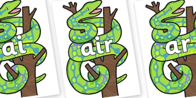 Phase 3 Phonemes on Boa Constrictor to Support Teaching on The Bad Tempered Ladybird - Phonemes, phoneme, Phase 3, Phase three, Foundation, Literacy, Letters and Sounds, DfES, display