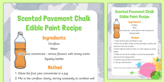 Scented Pavement Chalk Edible Paint Recipe - scented, pavement, chalk, edible, paint, recipe