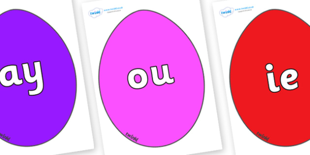 Phase 5 Phonemes on Easter Eggs (Coloured) - Phonemes, phoneme, Phase 5, Phase five, Foundation, Literacy, Letters and Sounds, DfES, display
