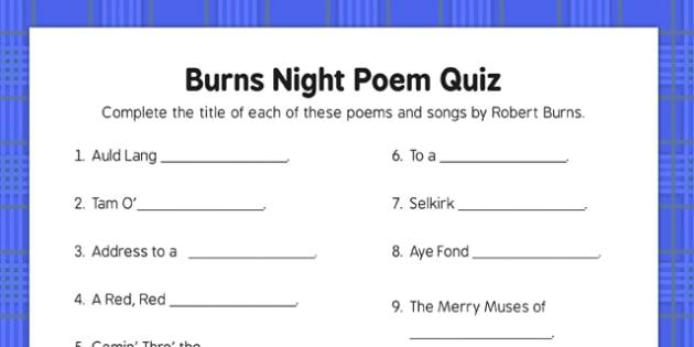 Burns Night Poetry Quiz - Elderly, Reminiscence, Care Homes, Burns' Night