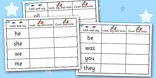 Phase 3 Tricky Words on Writing Practice Worksheets - phase 3, tricky words