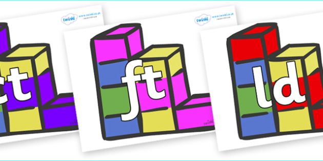 Final Letter Blends on Building Bricks - Final Letters, final letter, letter blend, letter blends, consonant, consonants, digraph, trigraph, literacy, alphabet, letters, foundation stage literacy