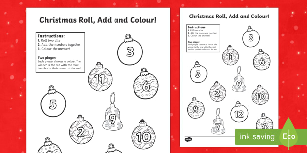 Christmas Baubles Roll and Colour Activity Sheet