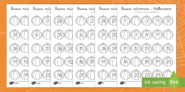 Halloween Missing Numbers to 50 Activity Sheet
