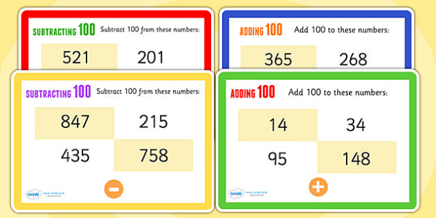 Adding and Subtracting 100 Maths Challenge Cards - add, subtract