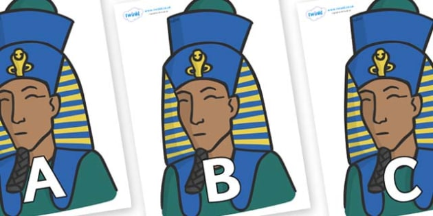 A-Z Alphabet on Pharaohs - A-Z, A4, display, Alphabet frieze, Display letters, Letter posters, A-Z letters, Alphabet flashcards
