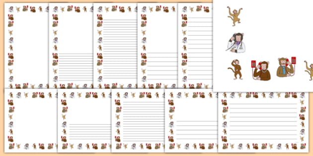 Five Little Monkeys Jumping on the Bed Page Borders - counting, 5, monkey, nursery rhyme, song, singing, writing, early years, eyfs, ks1, foundation, reception, nursery