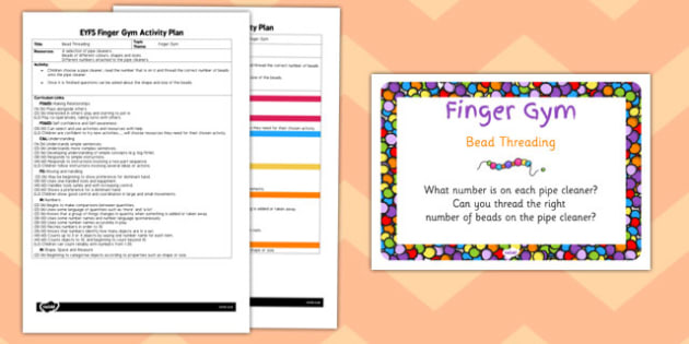 EYFS Bead Threading Finger Gym Activity Plan - bead, threading