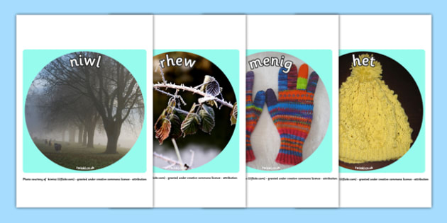 Winter Display Photo Cut Outs Welsh Translation - winter, display