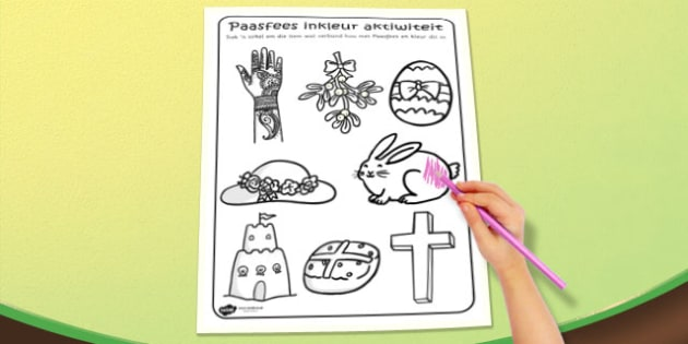 Afrikaans Easter Colouring Activity Sheet - afrikaans, easter, worksheet