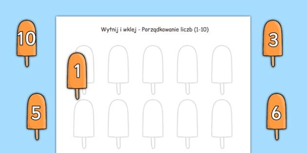 Wytnij i wklej liczby 1-10 Lato po polsku - matematyka