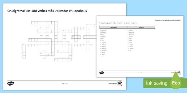100 High Frequency Verbs 4 Crossword Spanish - Spanish Grammar, GCSE, Spanish verbs, 100, high frequency, crossword, translation