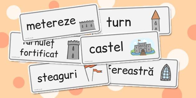 Castele și cavaleri - Cartonașe cu imagini și cuvinte