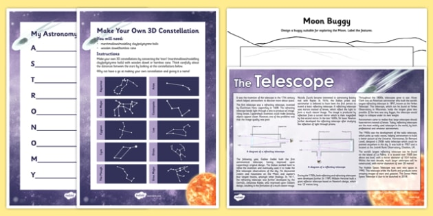 Astonomy Day Activity Pack - moon buggy, reading comprehension, telescopes, constellation, 3D, planets, poem, poetry