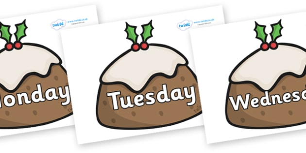 Days of the Week on Christmas Puddings - Days of the Week, Weeks poster, week, display, poster, frieze, Days, Day, Monday, Tuesday, Wednesday, Thursday, Friday, Saturday, Sunday