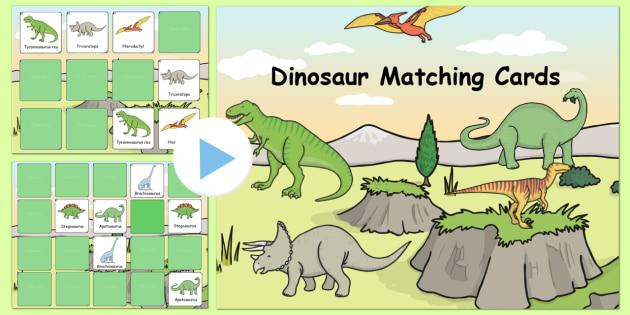 Dinosaur Themed Matching Cards Activity Notebook - dinosaur