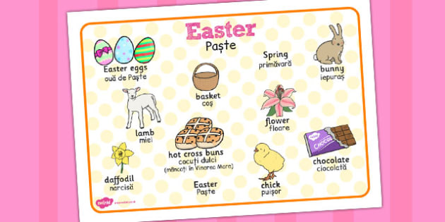 Easter Word Mat Romanian Translation - Romanian, easter, word