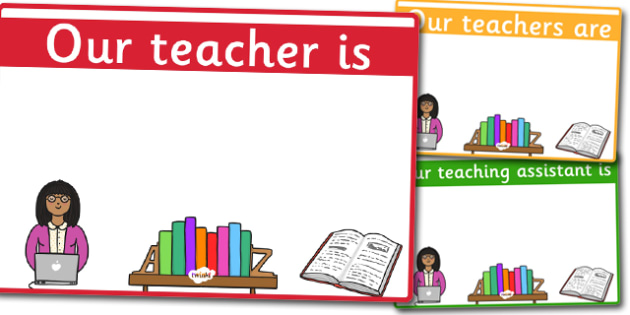 Editable Classroom Teacher TA Signs Design 1 Yellow - edit, signs, ta