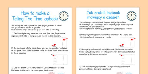 Telling The Time Lapbook Instructions Polish Translation - polish, lapbooks, instructions