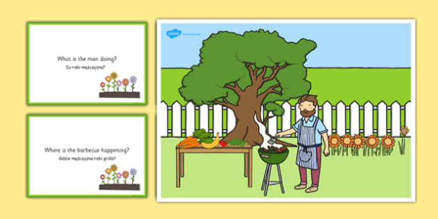 Barbecue Scene and Question Cards Polish Translation - polish, barbeque, questions, comprehension pack