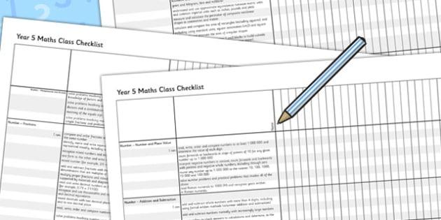 2014 Curriculum Year 5 Maths Assessment Class Checklist - numeracy