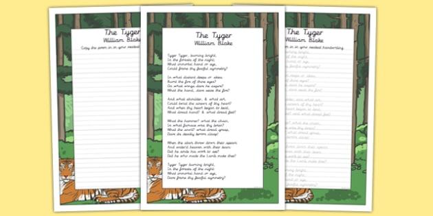 The Tyger KS2 Handwriting Practice - ks2, handwriting, practice, tyger