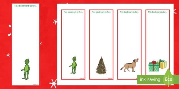 The Christmas Imp Editable Bookmarks - The Christmas Imp, the grinch,thegrinch who stole christmas, christmas, green, imp