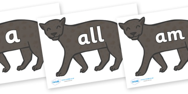Foundation Stage 2 Keywords on Panthers - FS2, CLL, keywords, Communication language and literacy,  Display, Key words, high frequency words, foundation stage literacy, DfES Letters and Sounds, Letters and Sounds, spelling