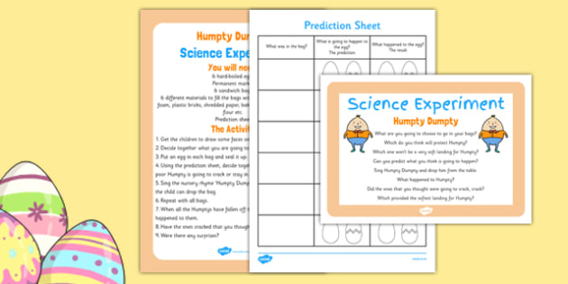 Humpty Dumpty Science Experiment and Prompt Card Pack - Easter, science experiment, humpty dumpty