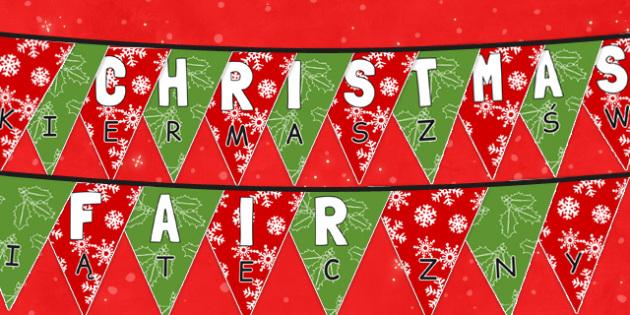 Christmas Fair Bunting Polish Translation - polish, christmas fair, christmas, fayre, bunting, display