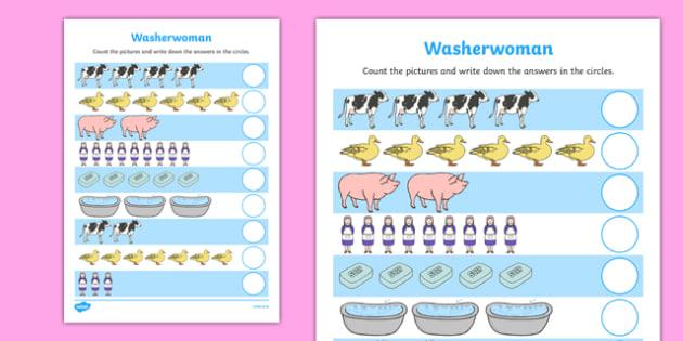 Washerwoman Counting Sheet - mrs wishy washy, washerwoman, counting