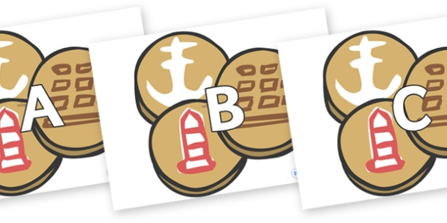 A-Z Alphabet on Sea Biscuits to Support Teaching on The Lighthouse Keeper's Lunch - A-Z, A4, display, Alphabet frieze, Display letters, Letter posters, A-Z letters, Alphabet flashcards
