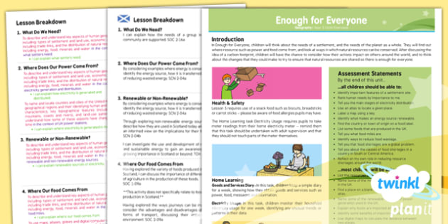 PlanIt - Geography Year 5 - Enough for Everyone Planning Overview CfE - Planit, CfE, sustainable, renewable, needs, environment