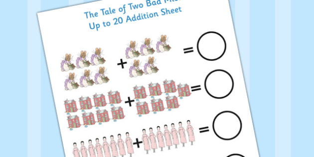 Tale of Two Bad Mice Up to 20 Addition Sheet - two bad mice