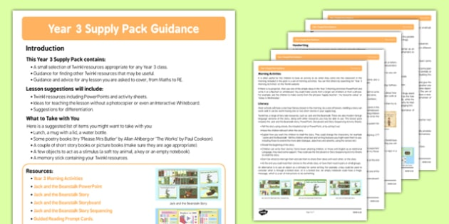 Year 3 Supply Pack Guidance - year 3, supply teacher, pack, guidance, cover, teacher