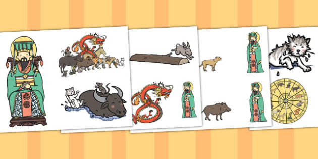 Chinese New Year Story Cut Outs - chinese new year, cut outs